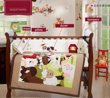 embroidery Crib Baby Bedding Sets Bed Product Newborn Bumper ,include(bumper+duvet+sheet+pillow) - Products Store 1 store