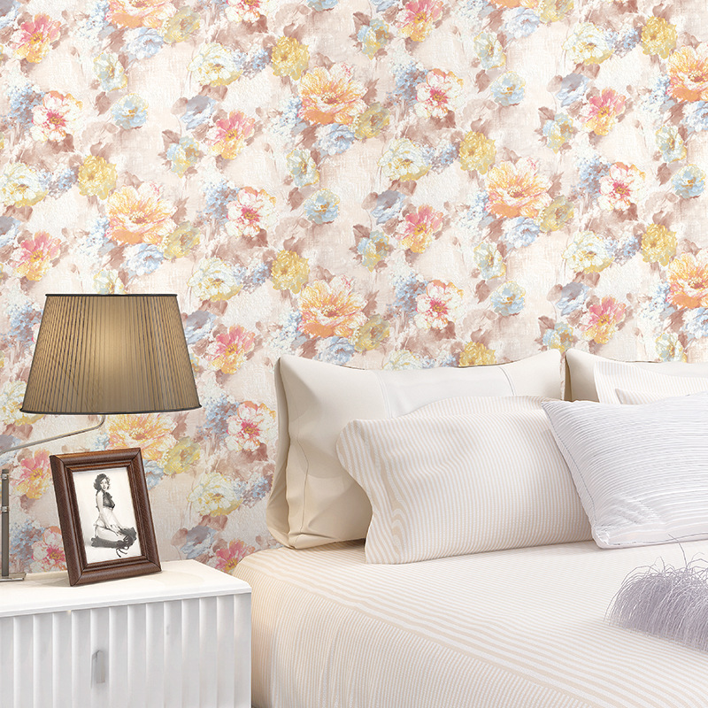 new 3d Non-woven Wallpaper Bedroom Tv Backdrop Garden Flower Promotion Wallpaper Roll of Wall Paper Papel De Parede<br>