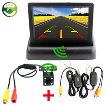 Car Wireless Parking Camera Monitor Video System, DC 12V Folding Car Foldable Monitor With Rear View Camera + Wireless Video Kit