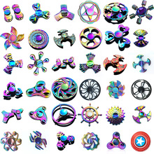 rainbow Metal fidget spinner star flower skull dragon wing Hand Spinner for Autism ADHD Kids adults antistres Toy EDC Fidget Toy(China)
