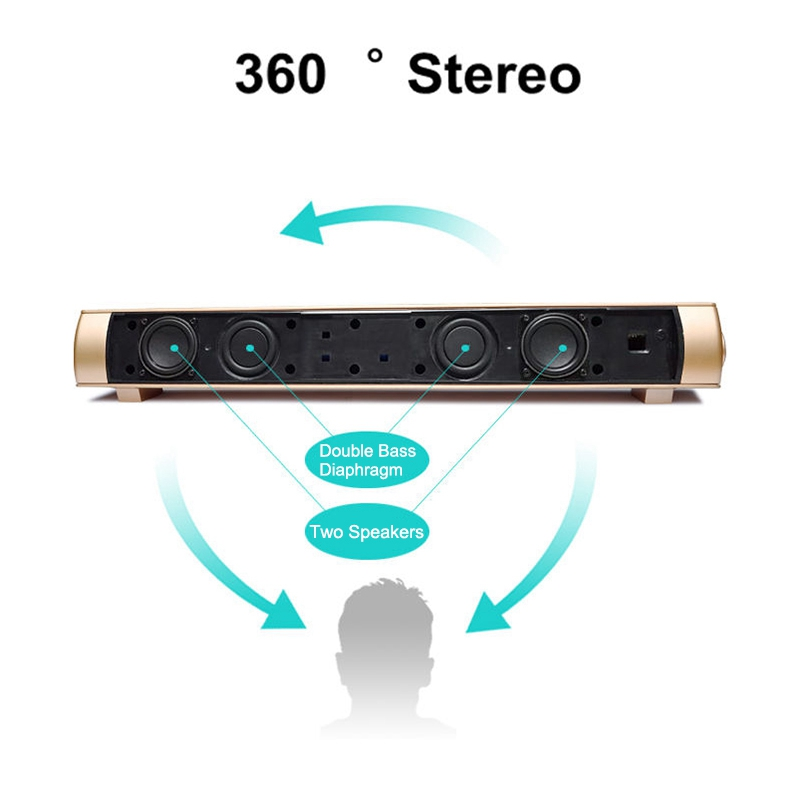 VTIN Wireless Bluetooth Speaker 4.2 SoundBar Remote Control TF Card TV Cellphone Tablet Surround Sound System TV Speaker Golden (3)