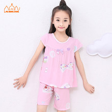 Summer Baby Kids Girls Pajamas Set Cute Cartoon Pajamas Sets Short Knitted Modal Character Sleepwear Girls Children Pajamas Suit(China)