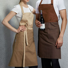 Full Length Cotton Bib Apron Cafe Bistro Bar Salon Spa Uniforms Barista Waiter/Waitress Painter Baker Florist Chef Workwear B54(China)