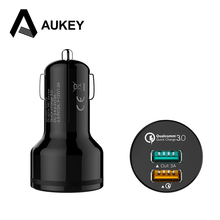 AUKEY [Qualcomm Certified] Quick Charge 3.0 QC2.0 2-Port USB Car Charger For Apple iPhone Samsung S6 5 Note LG Cell Phone Tablet(China)