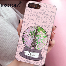 BROTOLA Eiffel Tower Glitter Pink Heart Liquid Quicksand Phone Cases For iPhone 7 6 6s 7Plus Meteor Twinkling Hard Back Cover