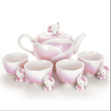 Japan Hello Kitty limited edition handmade ceramic and porcelain enamel teapot tea sets pot four cups
