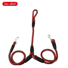 4 Colors 50 Inch Length 2 way Coupler Leash Leads Braided Nylon Rope For 2 Dogs Walking S /M Sizes(China)
