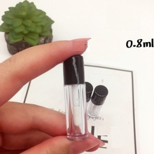 Round Lip Gloss Clear Glass Bottles with Black Plstic Lid 2CC Mini Empty Glaze Lip Oil Tube(China)