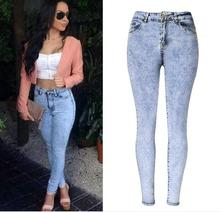 2017 Spring Women High Waist Skinny jeans Fashion Brand Snow Wash pencil pants denim trousers Plus Size jeans femme