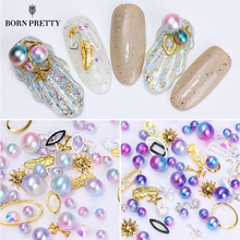 1 Box Mermaid Gradient Pearl Nail Beads Multi-size Rhinestone Metal Frame Manicure Accessories 3D Nail Art DIY Decoration(China)