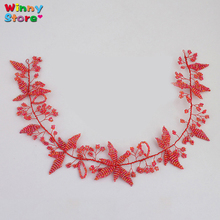 Red Color Handmade Soft Headband for Women Crystal Beads Flower Tiara Hairband Leaves Bridal Head Chain Christmas Ornaments Gift(China)