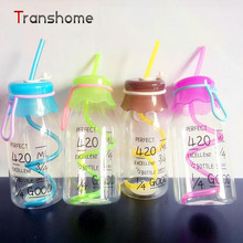 TRANSHOME 2017 New Fashion Water Bottle For Sports Outdoor Travel 420ml My Colorful Bottle With Straw Food Grade Plastic