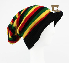 Jamaican Reggae visor Rasta hat slouchy baggy costume hat Knitted Halloween striped Hat  costume Cap