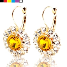 Stunning Sprout Clear and Yellow Crystal Daisy Flower Earrings Gold Tone Lever Back Lightweight Round Stone Earrings for Women