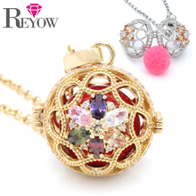 LOTS 5PCS! Gold/White Gold Zircon Crystal Flower Hollow Locket Pendant Aromatherapy Essential Oil Diffuser Necklace Jewelry(China)