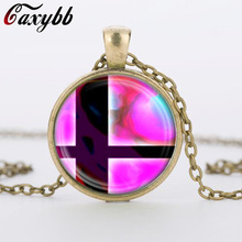 Super Smash Bros Ball Pink and Black Pendant Glass Dome necklace Pendants silver vintage Necklace for men ,women gift CN-427(China)