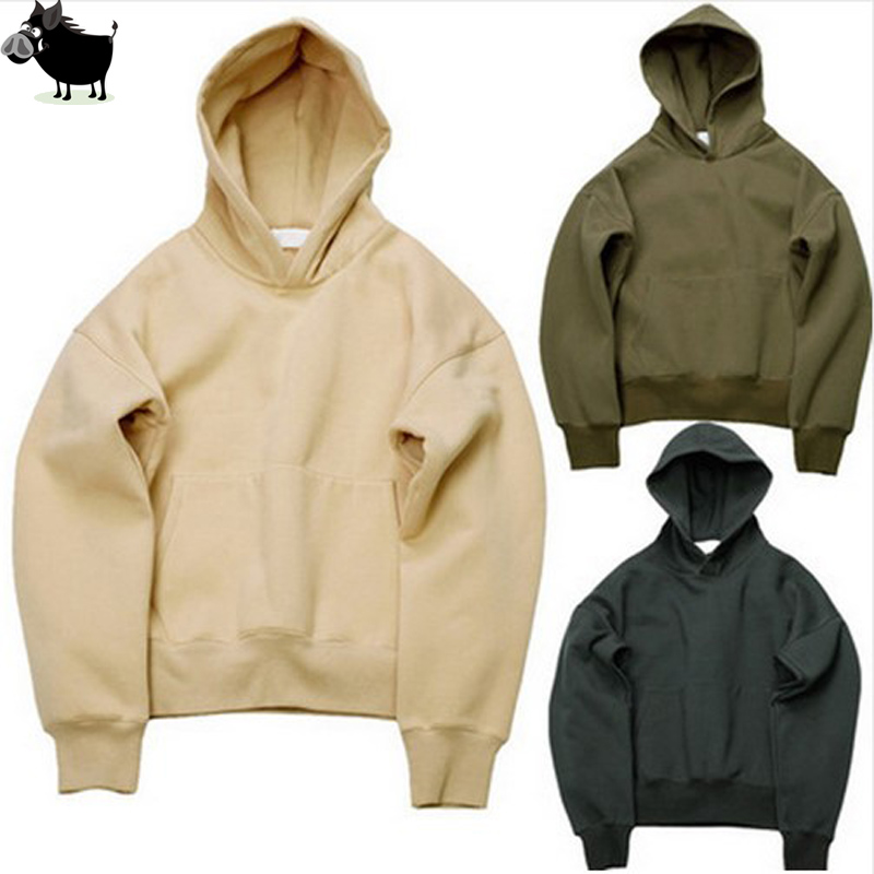 Man Si Tun 2018 Quality Nice Hip Hop Hoodies With Fleece WARM Winter Kanye West Hoodie Sweatshirt Swag Solid Olive  Pullover