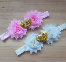 New Coming Valentine's Day Headband Girls Flower Headband Shabby Flower With Heart Beads 16 Colors U Pick 36Pcs/lot