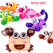 2017 3pcs Set Kids Funny Clockwork Toy Plastic Crab Lobster Scorpion Design Running Spring Wind Up Toys(China)