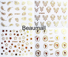 Fashion 3D Gold Designs Water Nail Decals Water Transfer Nail Stickers For Nail Tips Beauty DIY#XF6050~XF6072(China)