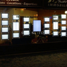 10 Units Real Estate Agent A3 Cable Hanging LED Window Display Sets Acrylic Poster Frame LED Light Panel for Shop Window Display