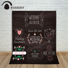 Allenjoy photography background Black love hearts wedding custom information beautiful photocall background for photos