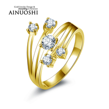 AINUOSHI 10K Solid Yellow Gold Wedding Ring Special Design Joyas de oro 10k Band SONA Simulated Diamond Women Birthday Ring Gift