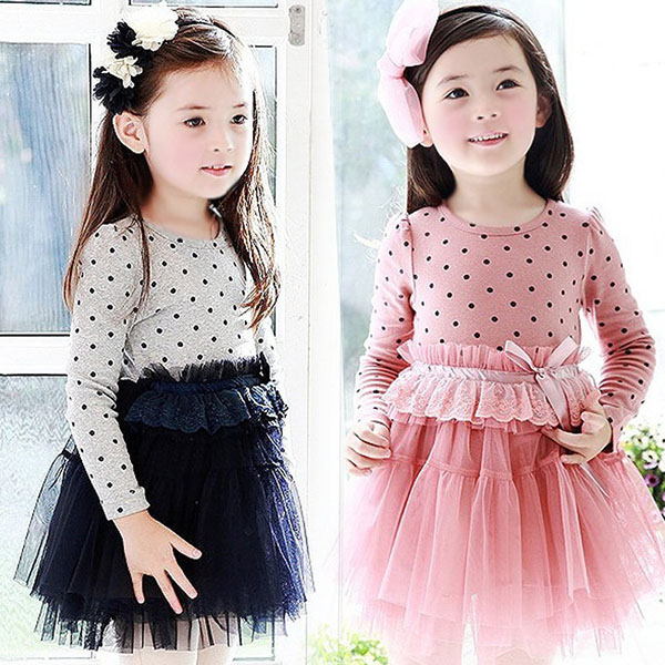 Newest Fashion Cute Kids Clothes Baby Girls Lace Dress Long Sleeve Polka Dot Princess Party Dresses Blue Pink 2-6Y<br><br>Aliexpress