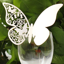 50PCs Happy Gifts High Quality Wedding Decoration Butterfly Wedding Table Paper Place Card Escort Name Card Wine Glass Card
