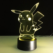 Pikachu 3D Hologram Illusion Night Light Color Changing Lamp Pokemon Action Figure Visual Illusion LED Holiday Christmas Gifts
