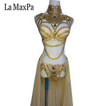 La MaxPa 2017 new arrival sexy female singer costume dj ds western regions style women stage costume silver gold dance outfit(China)