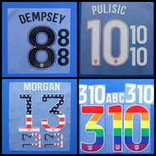 New USA MORGAN HOWARD DEMPSEY PULISIC ZUSI JONES football number name font print, Hot stamping Soccer patches badges(China)