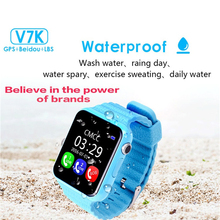 Children Security Anti-lost GPS Tracker Waterproof Smart Watch V7K 1.54'' Screen With Camera Kid SOS Emergency For iPhone&Androi