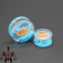 transparent acrylic fish logo blue color ear plugs and tunnels piercing gauges sell by pair 10-25mm