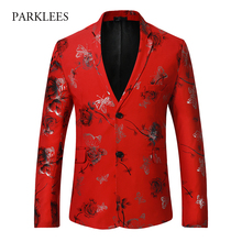 Red Blazer Men Flower Print Men Blazer 2017 Slim Fit Single Breasted Mens Blazers Casual Cotton Party Wedding Blazer Hombre 2XL
