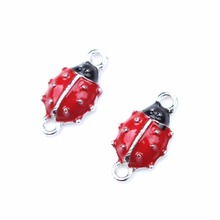 10pcs/lot New Red Ladybug Decorations DIY Alloy Nails Tools Charms Connectors for DIY Craft Home Party Holiday Decoration(China)