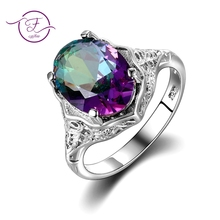 (High) 저 (Quality 정품 Rainbow (kindle Fire) Mystic Topaz 링 Solid 925 Sterling Silver Jewelry Best Gift 대 한 Women Fine Jewelry 도매(China)