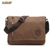 Augur 2017 High Quality Canvas Bag Men's Solid Cover Zipper Casual School Bags Men Leather Cross Body Messenger Shoulder Bag(China)