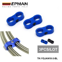3 Blue (Black) Universal- AN10 Billet Oil/Fuel/Water Hose Turbo Separator Divider Clamp EP-YGJAN10-3-BL(China)