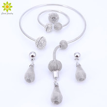 New Fashion Dubai Silver Plated Crystal Necklace Set African Beads Costume Acessories Bridal Wedding Jewelry Sets