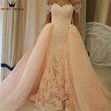 Buy High New Fashion 2018 Straight Detachable Skirt Pink Lace Luxury Wedding Dresses Muslim Bridal Gowns Custom Size WD412 for $276.02 in AliExpress store