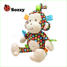 1pcs High Quality Plush Baby Toy Sozzy Baby Rattle Toys Monkey Pull Bell Plush Toys Infant Appease Dolls Wholesale
