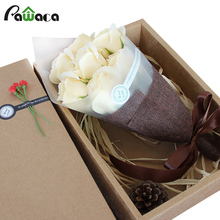 Soap Flower Gift 7Pcs/bouquet Rose Artificial Flower real touch fake flower for Romantic Wedding Party Gift Decor Mother's Day(China)