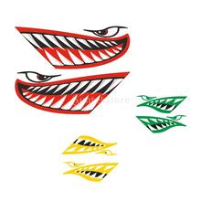 2Pcs Vinyl Large Cartoon Shark Teeth Mouth Decals Stickers Graphics for Kayak Canoe Fishing Boat Dinghy Jet Ski Car Motorcycle