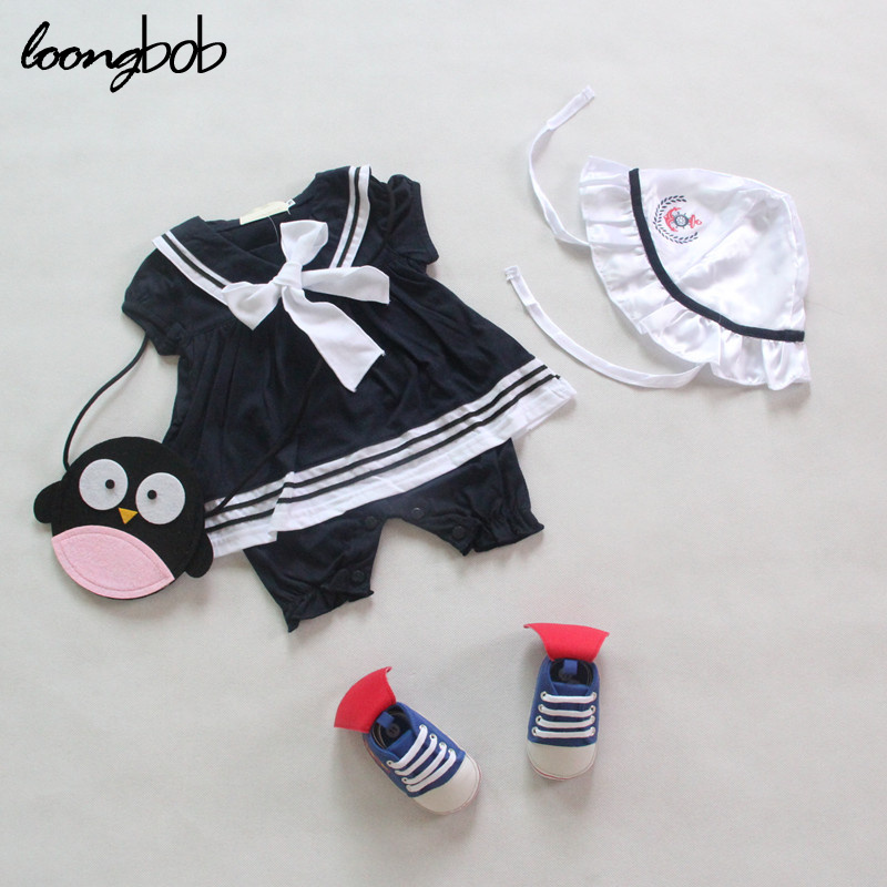 Baby Girls Sailor Style Romper+hat Infant Summer Navy Style Jumpsuit Toddler White Blue Clothing Children Short Sleeve Costume<br><br>Aliexpress