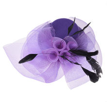 IMC Feather Purple Organza Mini Top Hat Flower Hair Clip Fascinator Bride Wedding