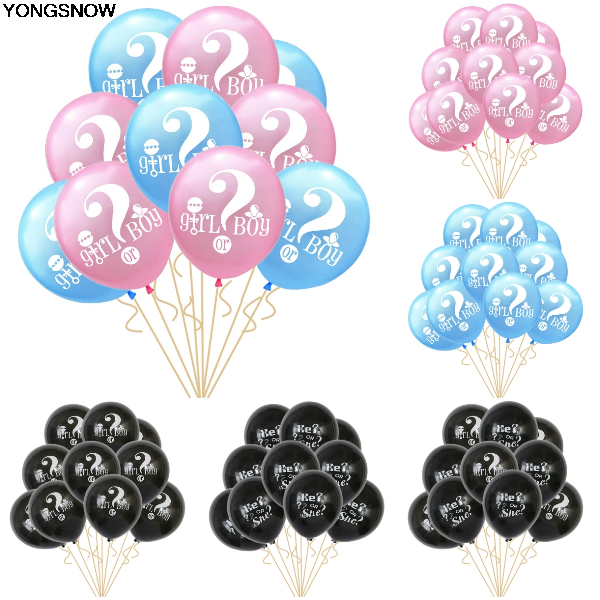 YONGSNOW 10Pcs 10-12inch Girl or Boy He or She Latex Balloon Inflatable Helium Air Gender Reveal Balloon Birthday Party Wedding
