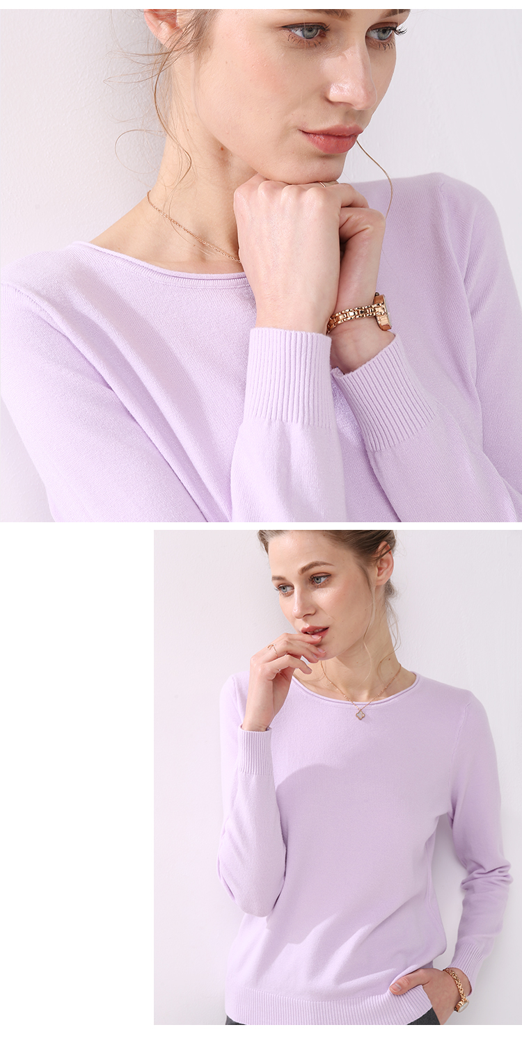 Women knitting sweater long sleeves curled O-neck collar female Short Casual Solid fashion thin pullover Ladies winter sweaters 15