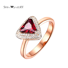 Brand Jewelry SHIPEI Red Triangle CZ Ring in Plated Rose Gold with Top Crystal, Carat Total Weight 2(China)