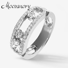 Moonmory S925 Sterling Silver Ring With Movable Stone and Clear Zircon French Style Silver Ring For Women Jewelry Accessory(China)